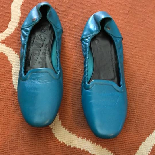 Hermès Leather Ballet Flats Comes With Dust Bag teal Flats Image 2