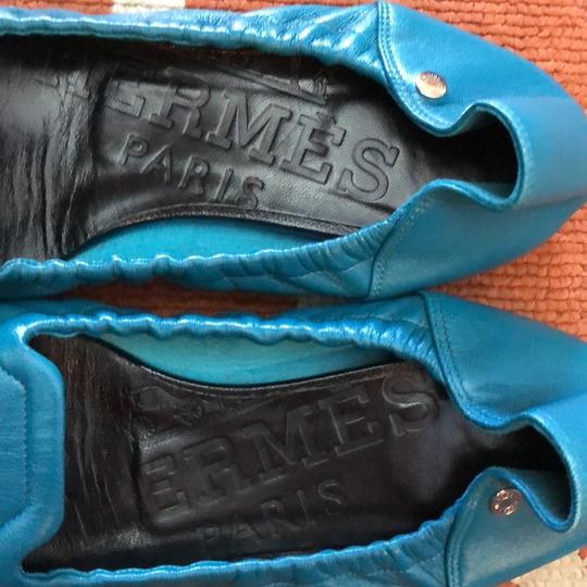 Hermès Leather Ballet Flats Comes With Dust Bag teal Flats Image 4