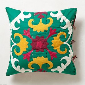 Anthropologie Multicolor Dalian Embroidered Euro Sham Pair Other