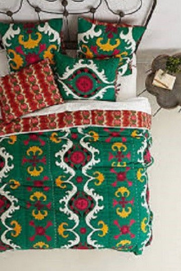 Anthropologie Multicolor Dalian Embroidered Euro Sham Pair Other Image 1