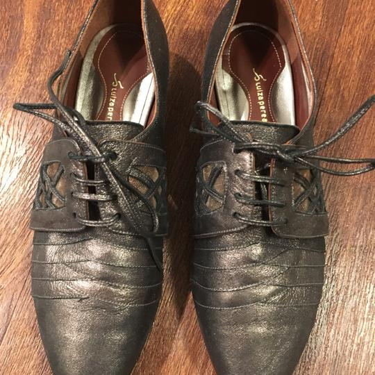Anthropologie Leather Oxford Brown & Black Flats Image 5