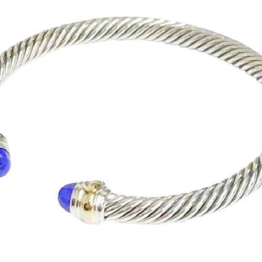 David Yurman David Yurman Never Worn Lapis Lazuli 14k and Sterling Silver Cable Bangle 14k Yellow Gold and Sterling Silver Beautiful lapis lazuli at each end of the bracelet 5mm Medium 7.25