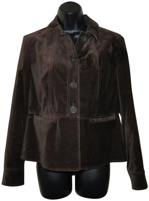 Jones New York Velvety Cotton Machine Washable Buttoned Brown Jacket Image 0