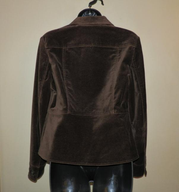 Jones New York Velvety Cotton Machine Washable Buttoned Brown Jacket Image 3