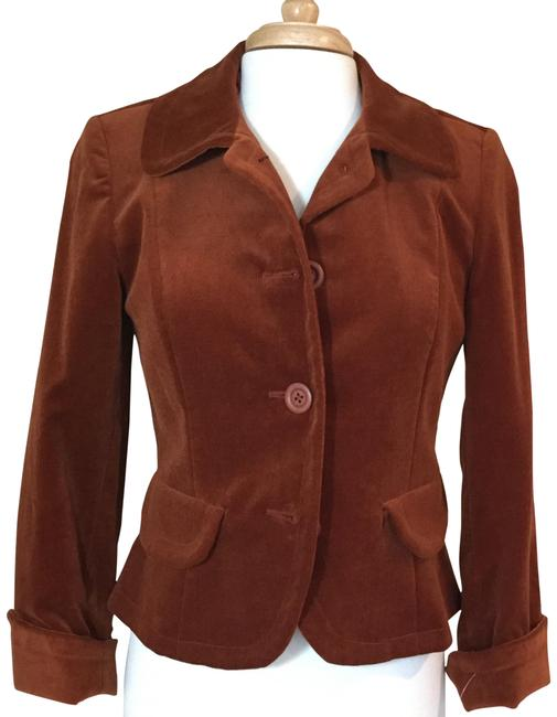 Jennifer Reale Designs Jacket Velvet Short Rust Blazer Image 0