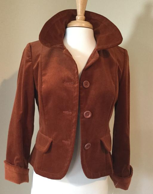 Jennifer Reale Designs Jacket Velvet Short Rust Blazer Image 1