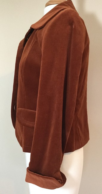 Jennifer Reale Designs Jacket Velvet Short Rust Blazer Image 2