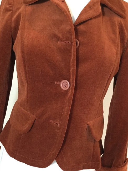 Jennifer Reale Designs Jacket Velvet Short Rust Blazer Image 4