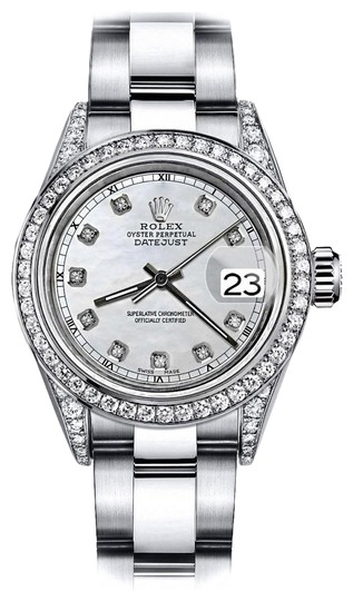 Preload https://img-static.tradesy.com/item/24146498/rolex-stainless-steel-white-pearl-track-26mm-datejust-diamonds-bezel-and-lugs-oyster-watch-0-1-540-540.jpg