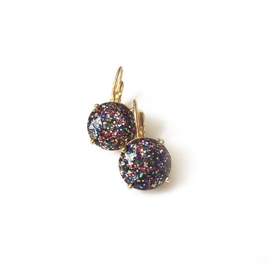 Kate Spade BRAND NEW Kate Spade Glitter Round Leverback Earrings Multi Color Gold Image 2