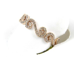 Other Round Cut Diamond Filigree Curve Cluster Ring Band 14k RG .25Ct