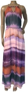 Green, purple, beige, and maroon stripes. Maxi Dress by Jessica Simpson Rainbow