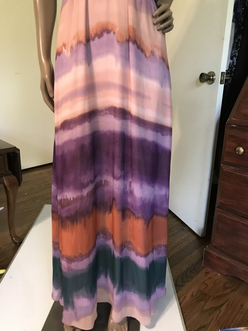 Green, purple, beige, and maroon stripes. Maxi Dress by Jessica Simpson Rainbow Image 3