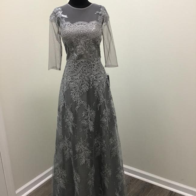 Teri Jon Silver 77038 Formal Bridesmaid/Mob Dress Size 10 (M) Teri Jon Silver 77038 Formal Bridesmaid/Mob Dress Size 10 (M) Image 1