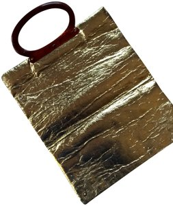 Unknown Metallic Vintage Shiny Foil Tote in Gold