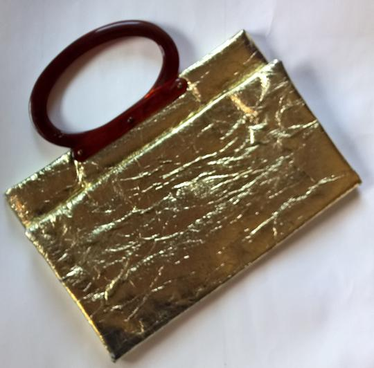 Unknown Metallic Vintage Shiny Foil Tote in Gold Image 1