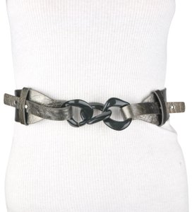 Unbranded Wide Black Faux Leather Chain Link Belt