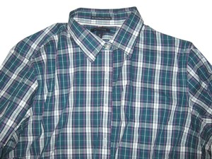 Lands End Button Down Shirt Turquoise Plaid