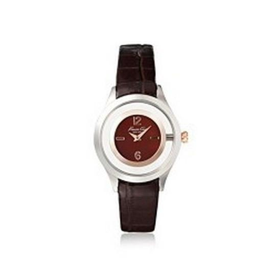 Kenneth Cole 10026941 Dress Womens Brown Leather Band With Brown Analog Dial Watch Image 2