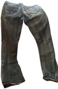 Levi's Vintage Distressed Embroidered Boot Cut Jeans-Medium Wash
