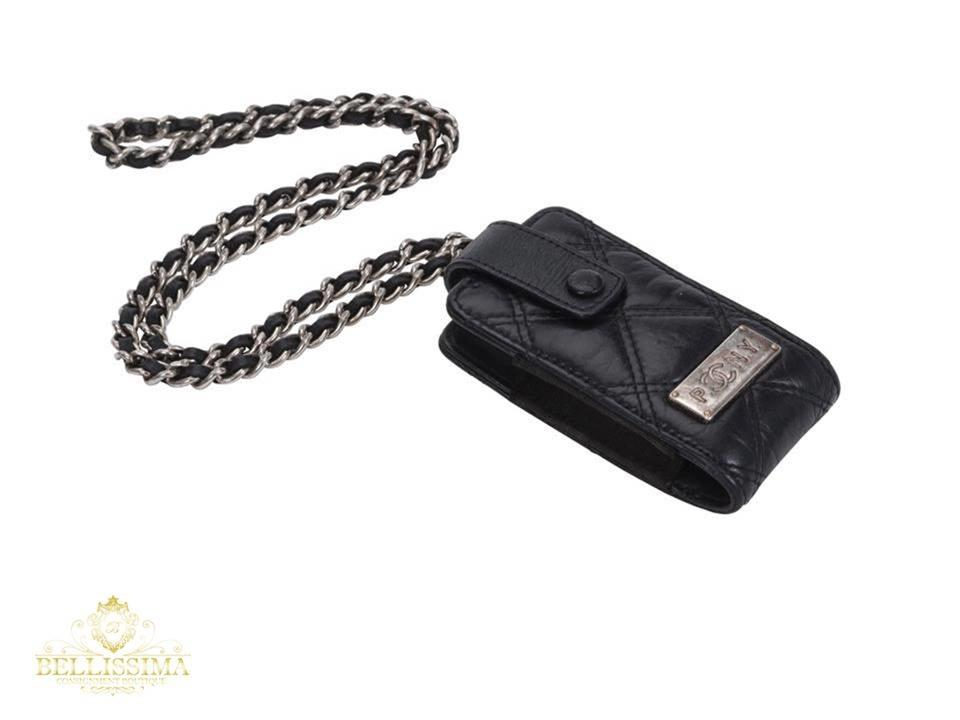 731f46fe2b77 Chanel Black Mini Bag Pouch Paris New York Leather Chain