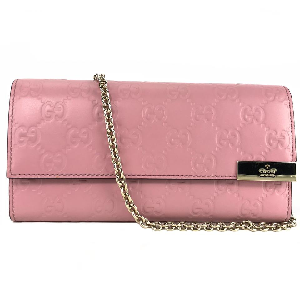 0092642ca897 Gucci New 269541 Gg Guccissima Mini Chain Bag Wallet Pink Leather Clutch