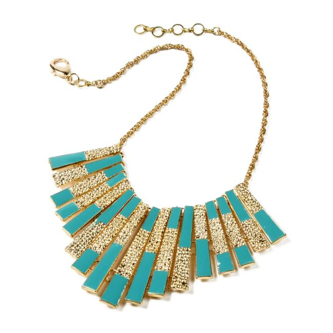 Item - Gold Turquoise Tiles Statement Necklace