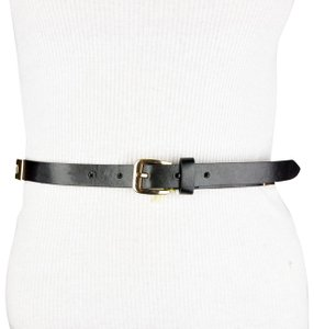 BCBGeneration BCBG Black Faux Leather Gold Color Chain Link Belt