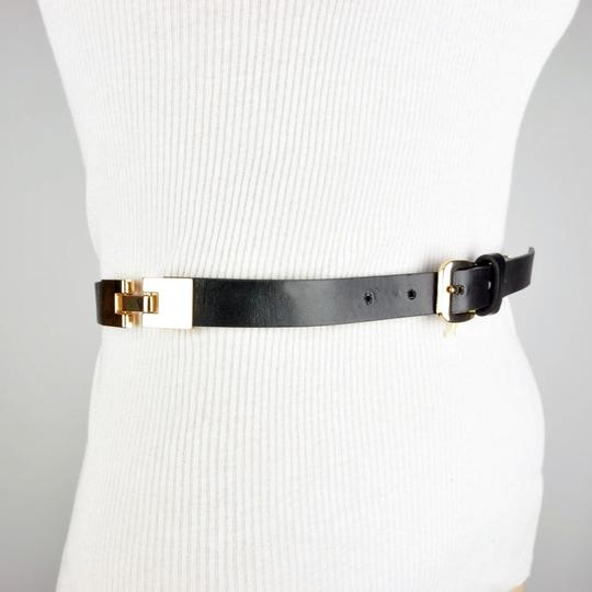 BCBGeneration BCBG Black Faux Leather Gold Color Chain Link Belt Image 1
