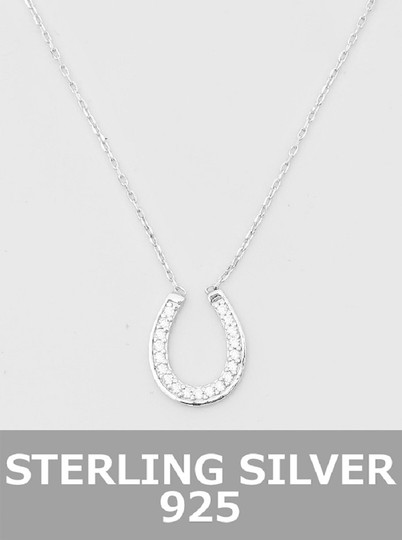 Other Sterling Silver 925 Horse Shoe Cz Pendant necklace Image 2