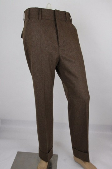 Gucci Heather Brown Stretch Flannel Pant It 48r / Us 32 398814 2571 Groomsman Gift Image 1