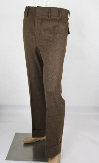 Gucci Heather Brown Stretch Flannel Pant It 48r / Us 32 398814 2571 Groomsman Gift Image 2