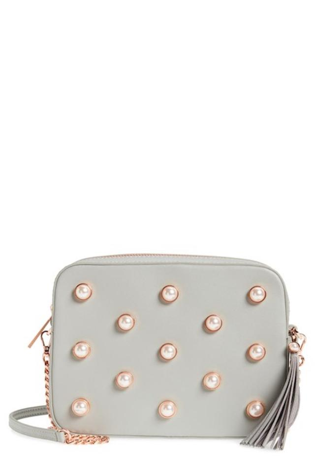 9b8513b9391f2 Ted Baker London Alessia Faux Pearl Embellished Camera Grey Leather Cross  Body Bag