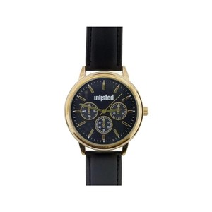 Unlisted by Kenneth Cole 10031968 Men's Black Leather Band With Black Analog Dial Watch