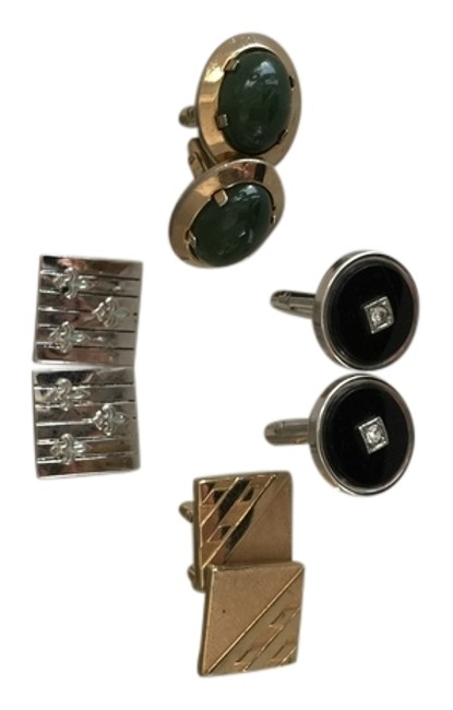Item - Sold Silver Enamel and Stone Vintage (1950's 1960's) Cuff Links