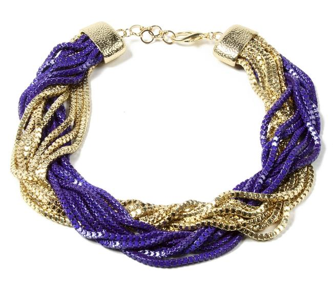 Item - Gold Purple New Loop Beaded Chains Necklace