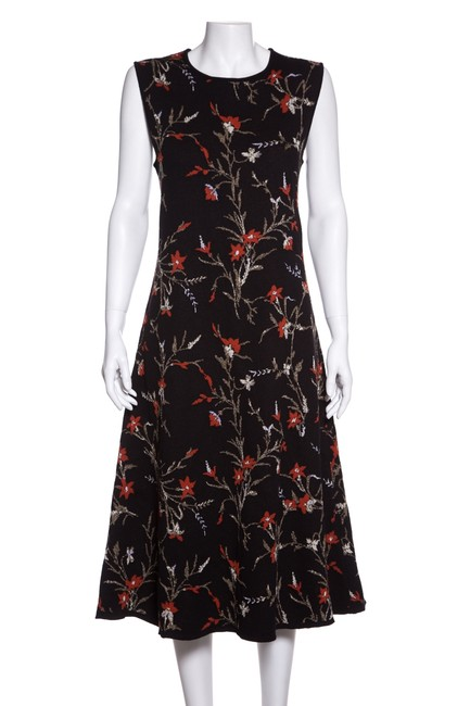 Item - Black & Red Floral Print Knit Mid-length Casual Maxi Dress Size 10 (M)