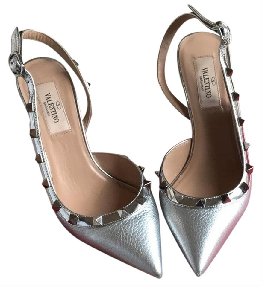 4ccd14681a1e2 Valentino Metallic Silver Rockstud Slingbacks Pumps Size US 6 Regular (M,  B) 24% off retail