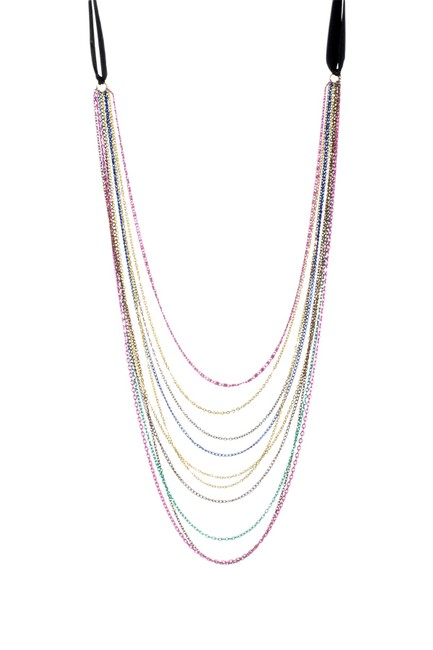 Item - Multi Color Chains New Strand Rainbow Metals Ribbon Tie Necklace