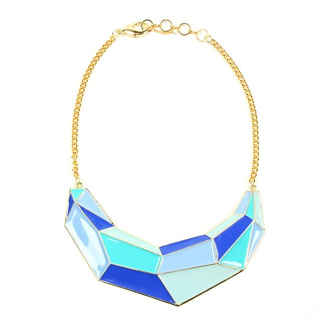 Item - Gold Hues Of Blue New Optical Illusion Enamel Blowout Necklace