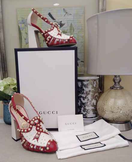 Gucci Made In Italy Luxury Designer Crystal Stud Pearl Gold Tone Hardware Red Sandals