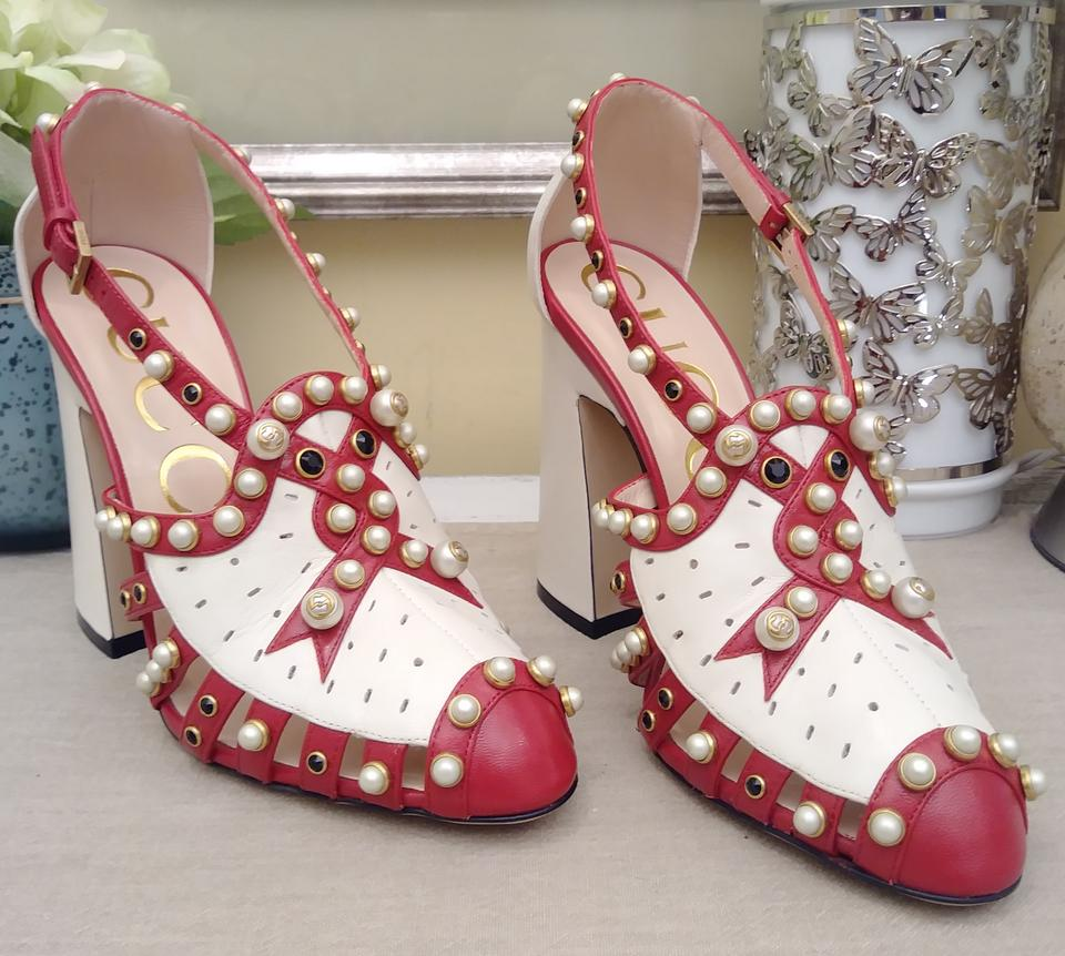 d2a9479c9d2d Gucci Red Tracy 110 Pearl Studded Leather Pump Sandals Size EU 37 ...