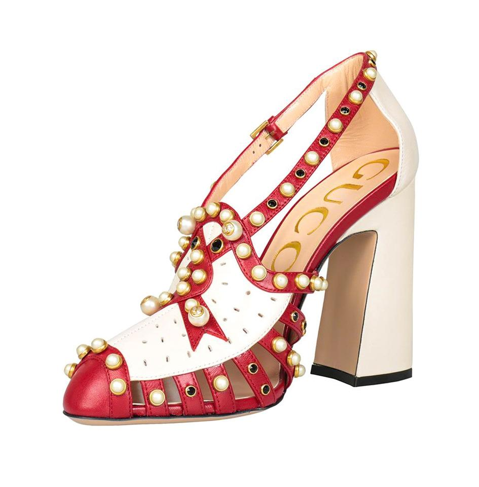 55bf7aeef56b60 Gucci Made In Italy Luxury Designer Crystal Stud Pearl Gold Tone Hardware  Red Sandals Image 0 ...