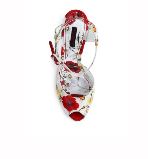 Dolce&Gabbana Leather Sandal High Heel Poppy print Pumps