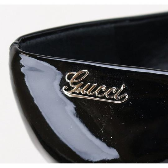 Gucci Patent Leather Script Logo Black Pumps