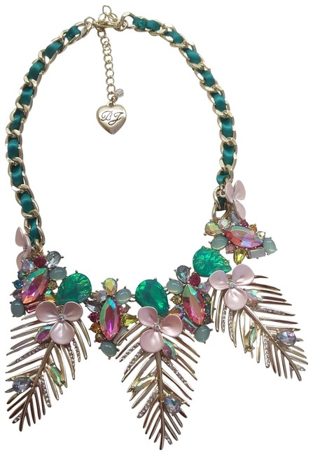 Betsey Johnson Pink New Gold Frond Necklace Betsey Johnson Pink New Gold Frond Necklace Image 1