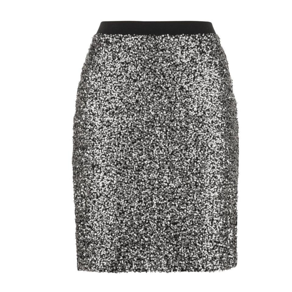 1bd8a1305572 Maurices Silver Black Sequin Pencil Skirt Size 4 (S, 27) - Tradesy