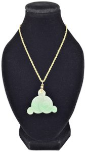 N/A Carved Jade Necklace 14K Yellow Gold Rope Chain 12.17g