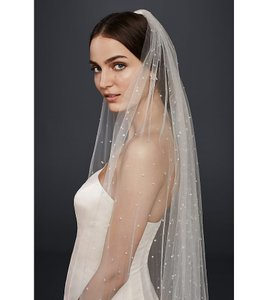 David's Bridal Ivory Long Scattered Crystal Cathedral Bridal Veil