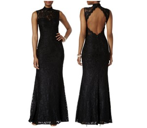 Betsy & Adam Sleeveless Open Lace Gown Dress